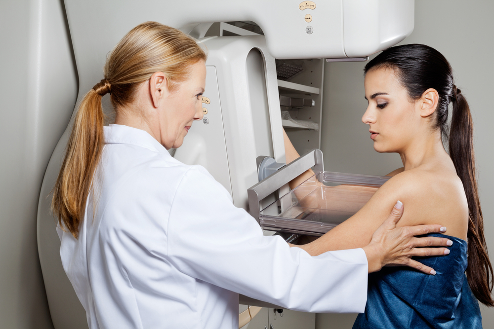 Woman getting a mammogram for breast cancer