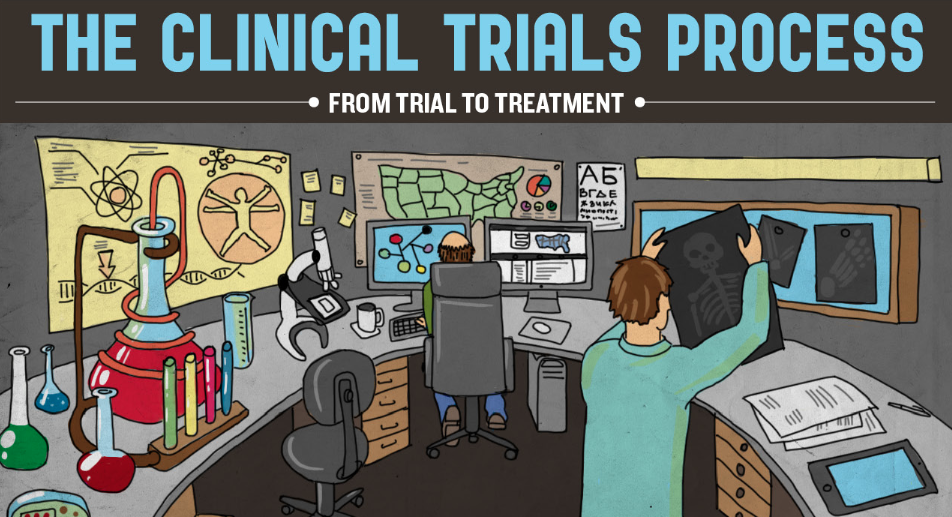 Infographic depicting the clinical trials process in details