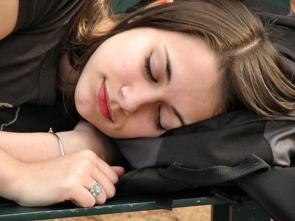 Woman taking part in a sleep clinical trial