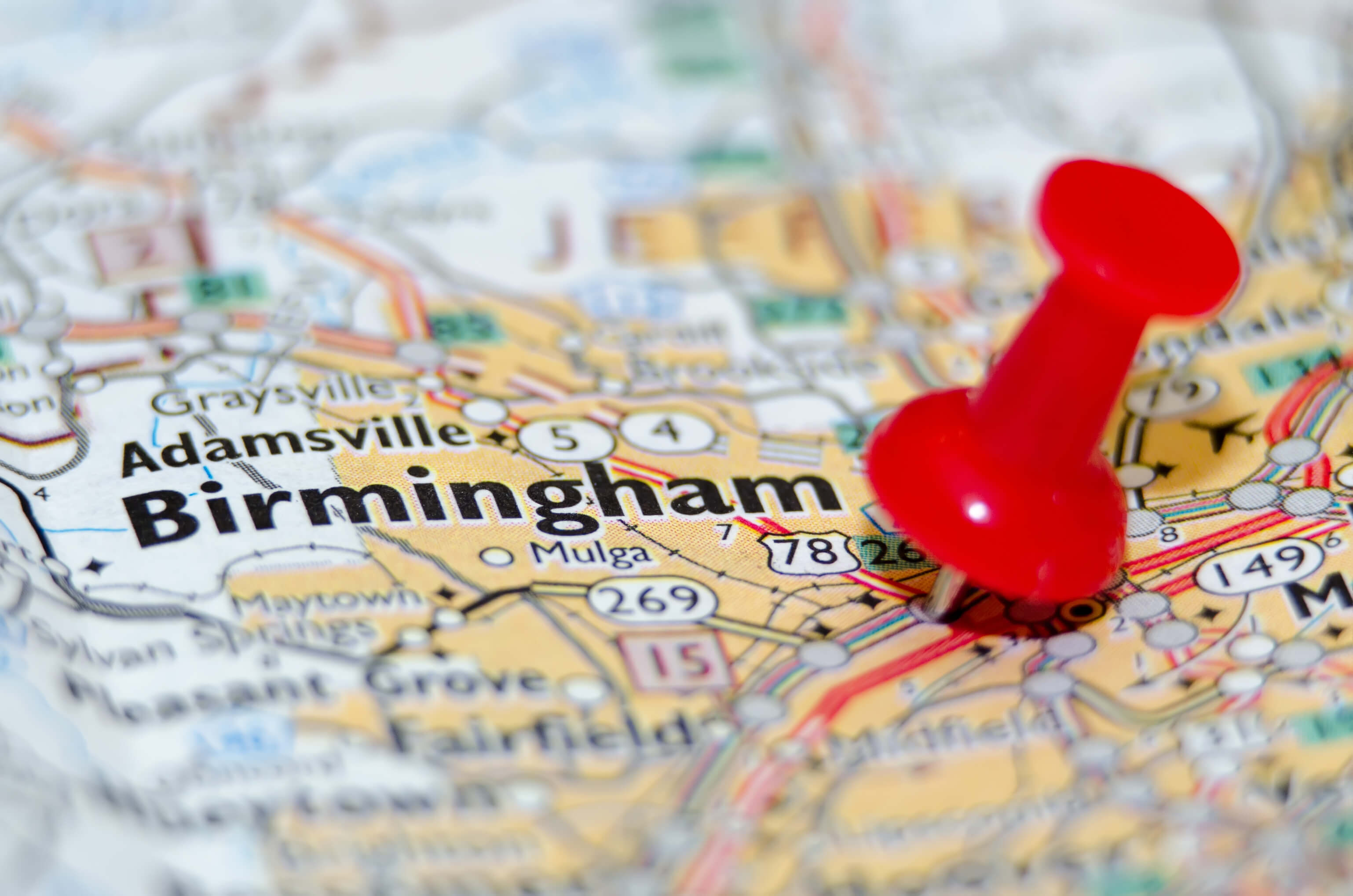 Map marks locations of enrolling clinical trials in Birmingham